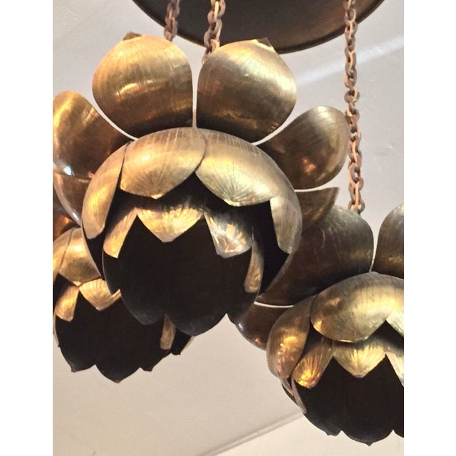 Feldman Three-Light Lotus Brass Chandelier For Sale - Image 9 of 11
