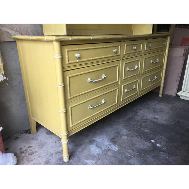 1970s Hollywood Regency Thomasville Faux Bamboo Dresser and Hutch For Sale - Image 10 of 13