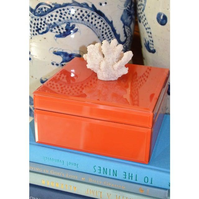 Coral & Orange Glass Trinket Box - Image 5 of 11