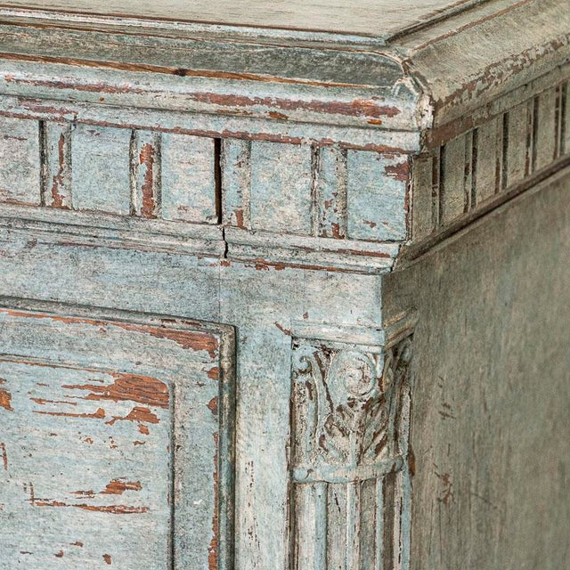 Large Antique Blue Painted Chest of Drawers From Sweden For Sale - Image 6 of 13