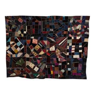 Antique Crazy Quilt Pieced Quilt Top For Sale