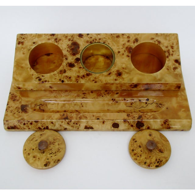 Lacquered Burl Wood Desk Set For Sale - Image 4 of 8