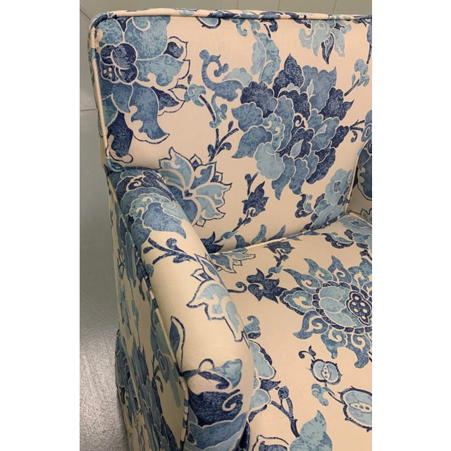 Blue & Off White Upholstered Armchair For Sale - Image 4 of 8
