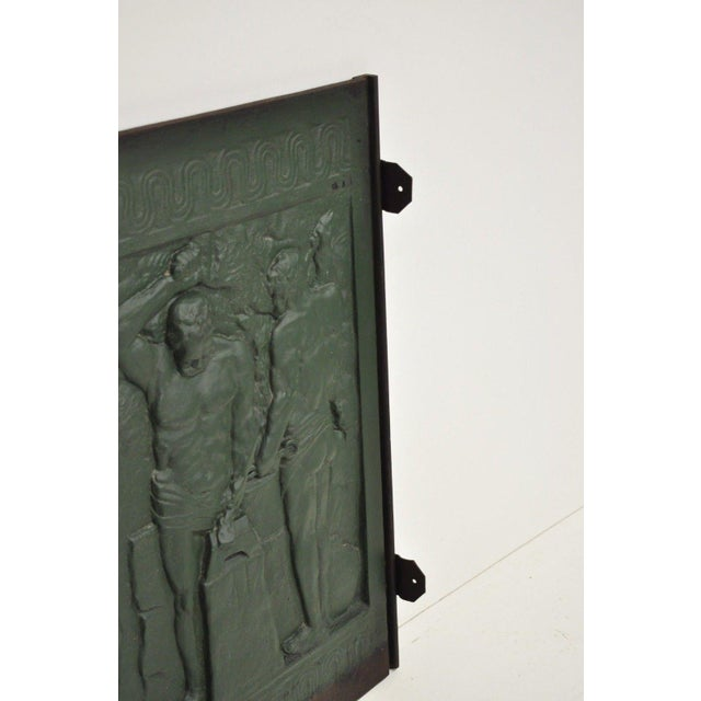 19th Century Art Deco Cast Iron Fireback Figural Foundry Worker Depiction For Sale - Image 9 of 13