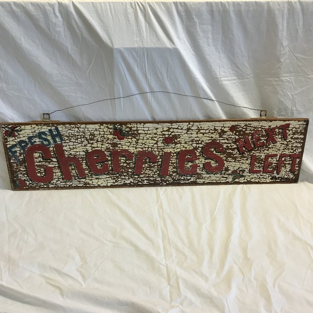 """Hand Painted """"Fresh Cherries Next Left"""" Sign by Folk Artist T. Toupe For Sale - Image 13 of 13"""