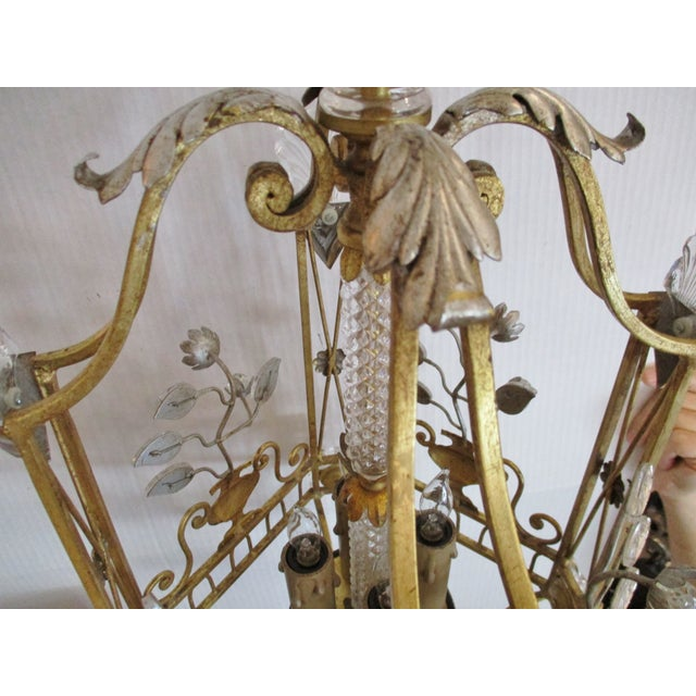 Metal 1970s Maison Bagues Style Crystal and Iron Gold and Silver Leaf Lantern Chandelier For Sale - Image 7 of 10