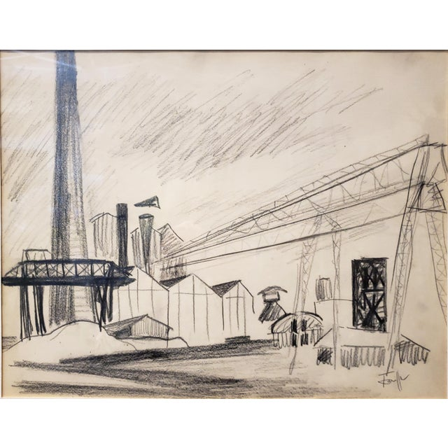 Charcoal on paper drawing of factory by French painter, actress and writer, Tonia Cariffa. From a 1949 series of paintings...
