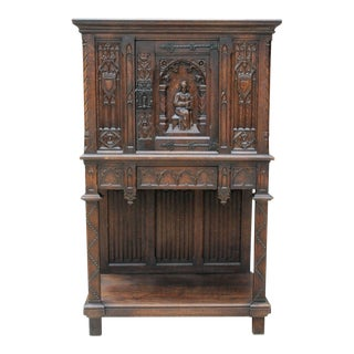 Antique French Carved Oak 19th Century Gothic Vestry Sacristy Altar Wine Cabinet For Sale