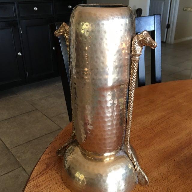 Mid-Century Hammered Brass Vase - Image 4 of 11