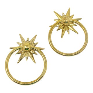 Mid-Century Starburst Hardware - a Pair For Sale