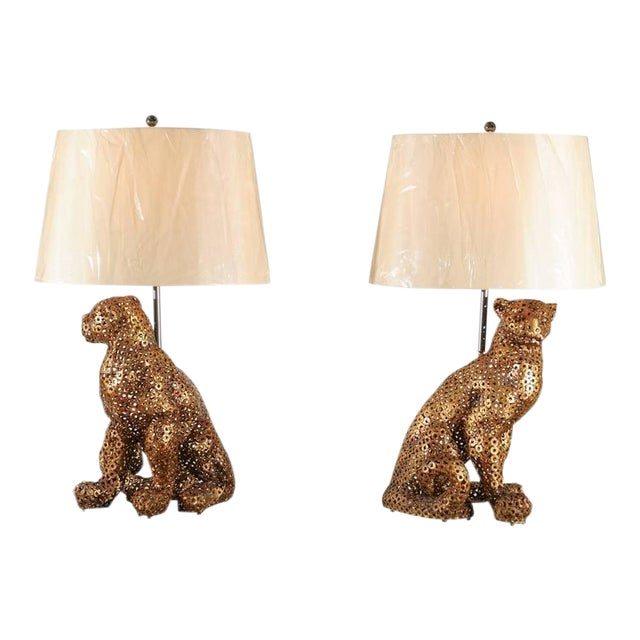Astonishing Pair of Welded Steel Panthers as Custom Lamps For Sale
