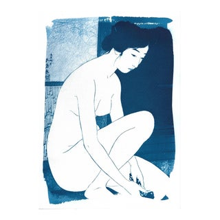 Ukiyo-e Geisha Bathing, Handmade, Cyanotype on Watercolor, Limited Serie A4 For Sale