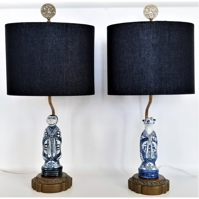 Pair of Vintage Chinese Zodiac Porcelain Figurine Lamps - Asian Chinoiserie Palm Beach Boho Chic Mid Century Bedside For Sale - Image 4 of 13