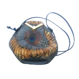 Exotic Peacock Feather Shoulder Bag C 1980s For Sale