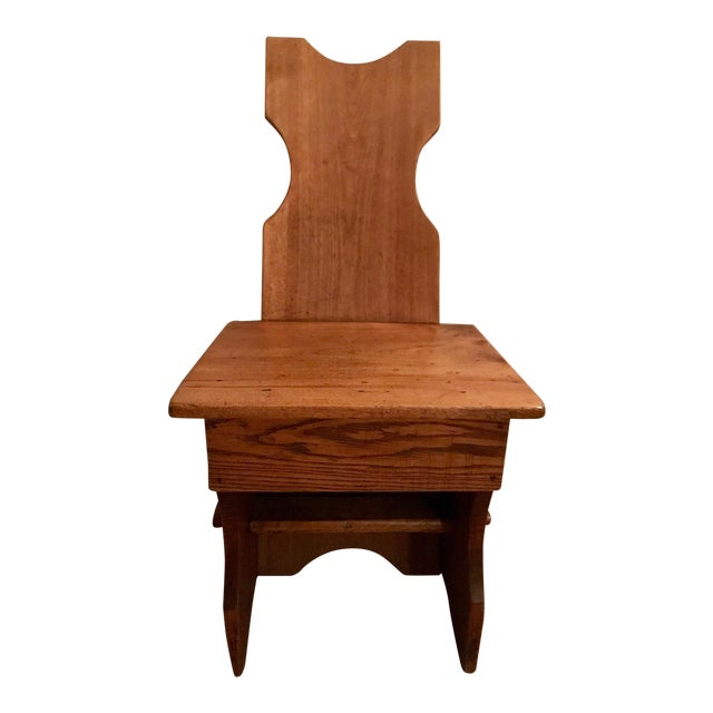 Late 1880s Antique Primitive Wood Chair For Sale