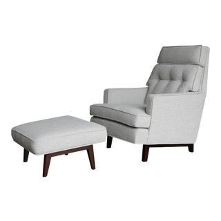 Mid 20th Century Edward Wormley for Dunbar Lounge Chair and Ottoman - a Pair For Sale