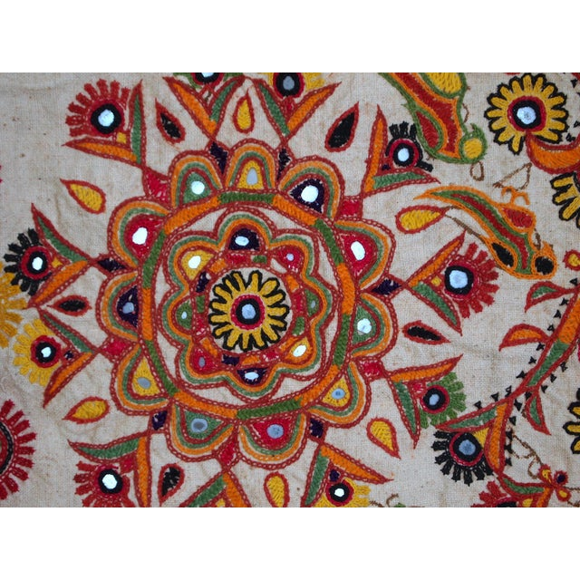 Orange 1950s Indian Embroidered Wall Tapestry For Sale - Image 8 of 10