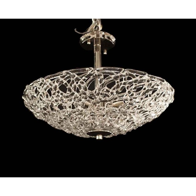 Blown Glass Lattice Blown Glass Domed Pendant Light For Sale - Image 7 of 7