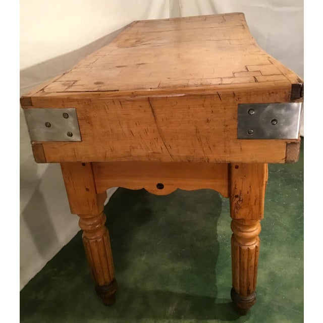Late 19th Century 19th C. French Carved Butcher Block Table For Sale - Image 5 of 13