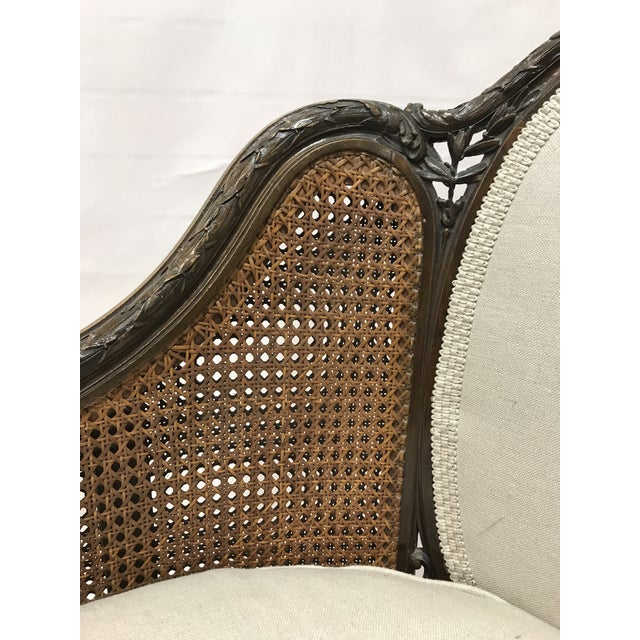Wood Louis XVI Style European Mahogany Carved Blind Cane Chaise For Sale - Image 7 of 11