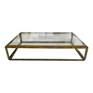 1970s Contemporary Large Rectangular Glass Top Coffee Table For Sale