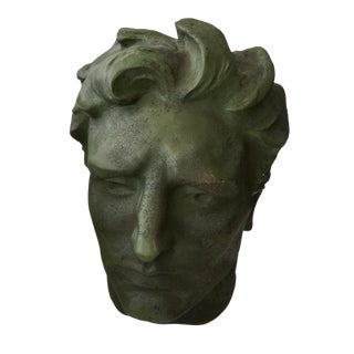 Modern Moss Green Fiberglass Head Decor Bust For Sale