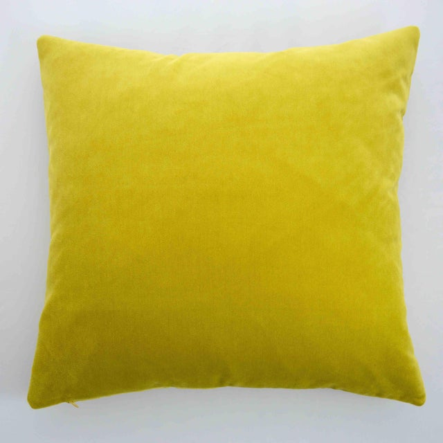 Contemporary Modern FirmaMenta Italian Solid Chartreuse Velvet Pillow For Sale - Image 3 of 4