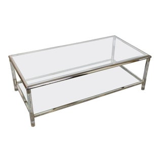 French, 1960s Rectangular Lucite, Chrome and Glass Coffee Table For Sale