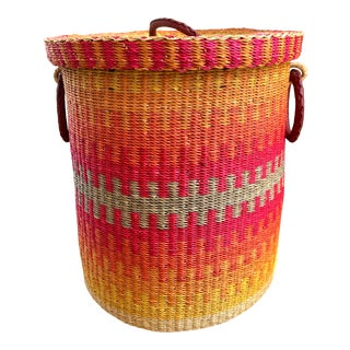 Woven Leather Handled Large Basket For Sale