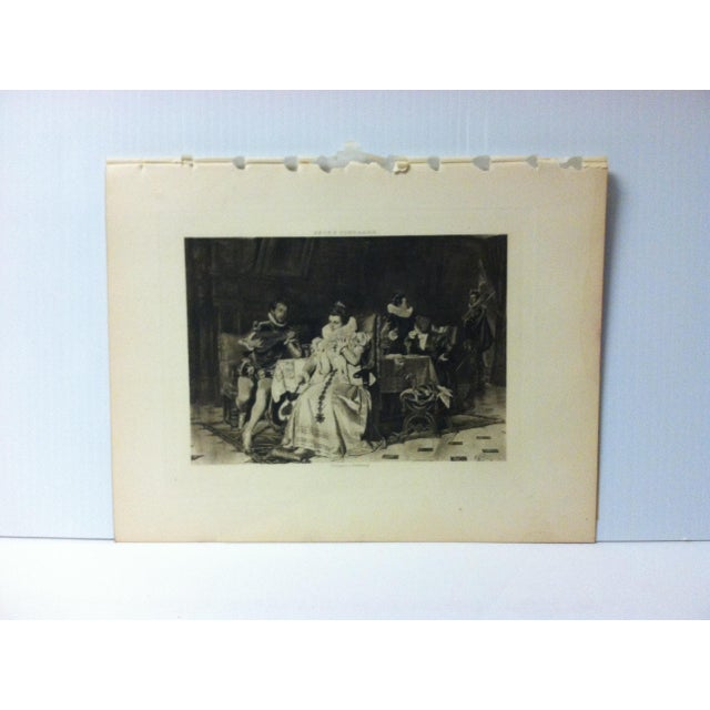 "Antique Photogravure on Paper, ""Mary Stuart and Rizzio"" by Georg Conrader - Circa 1860 For Sale - Image 4 of 4"