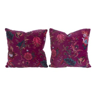 Vintage English Velvet Pillows - A Pair For Sale