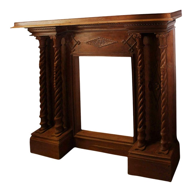 Antique Indian Hand-Carved Fireplace Console For Sale