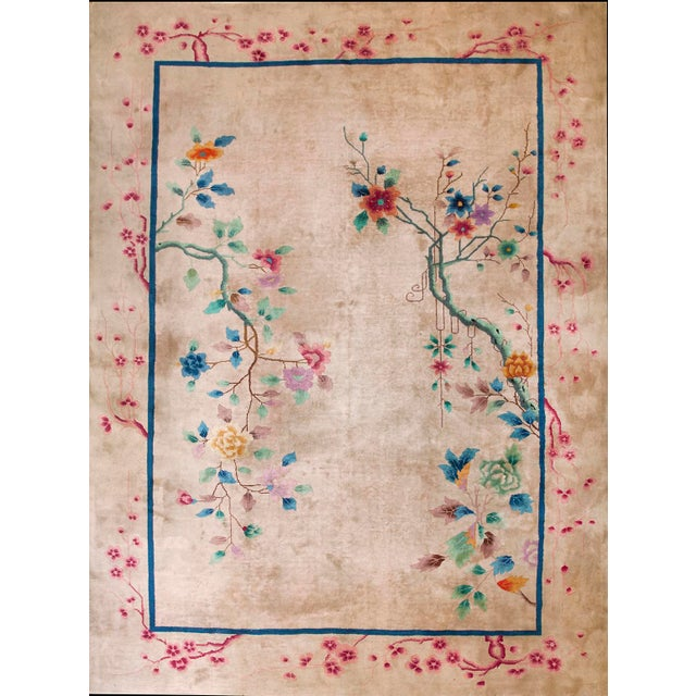 1920s Antique Chinese Art Deco Rug-9′ × 11′9″ For Sale In New York - Image 6 of 6