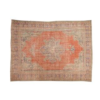 "Vintage Distressed Oushak Carpet - 6'7"" X 8'9"" For Sale"