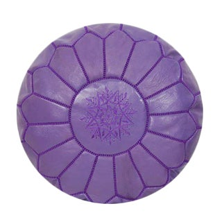 Traditional Purple Leather Pouf