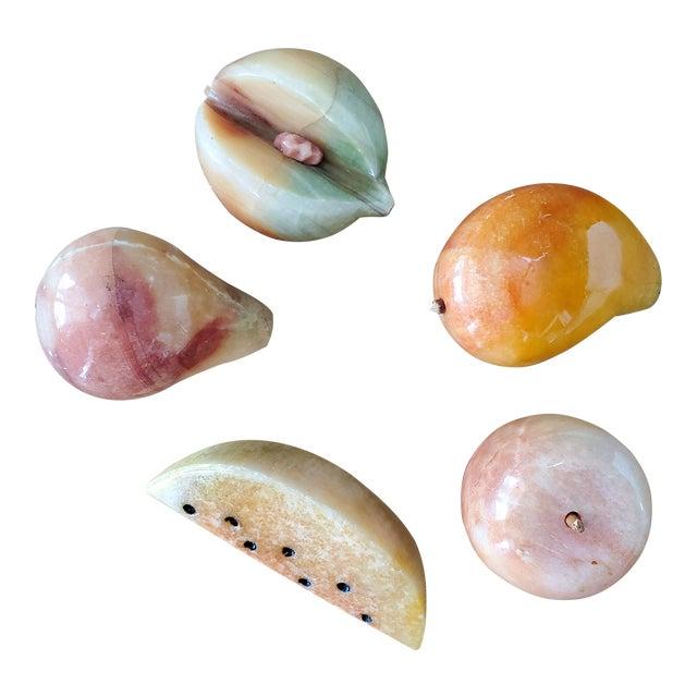 Italian Marble Fruit, 5 Piece For Sale