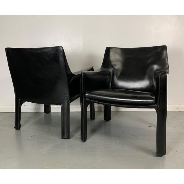 1960s 1960s Vintage Mario Bellini Black Leather Cassina Cab Chairs- Pair For Sale - Image 5 of 6