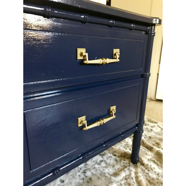 Vintage Mid-Century Henry Link Style Navy Blue Faux Bamboo Nightstand For Sale - Image 11 of 13