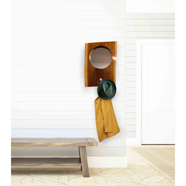 Live Edge Walnut Slab Coat Hanger With Mirror For Sale In New York - Image 6 of 8