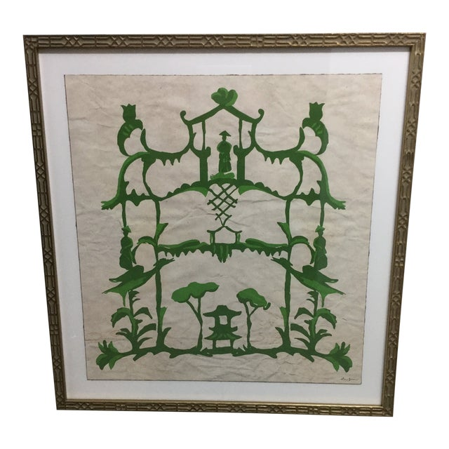 "Abstract Green Chinoiserie Inspired Print ""Folly and Green"" by Dana Gibson For Sale"