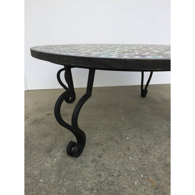 High-End Moroccan Mosaic Round Tile Coffee Table On Iron