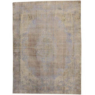 "Vintage Turkish French Industrial Style Distressed Wool Rug - 9'6"" X 12'11"" For Sale"
