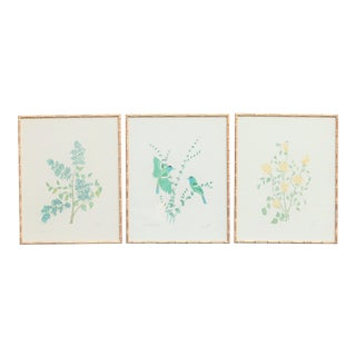 Floral Watercolor Triptych in Gold Faux Bamboo Frames
