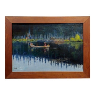 "A.C. Ward ""Native American Indian on a Canoe"" Oil Painting For Sale"