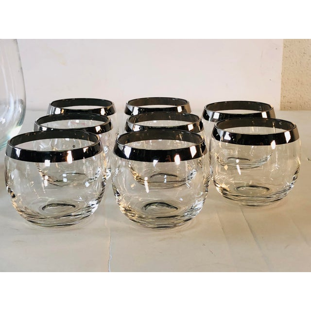 Dorothy Thorpe 1960s Punch Bowl Set With Silver Rim Tumblers, Set of 9 For Sale - Image 4 of 9