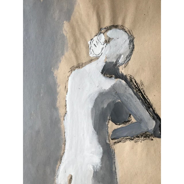 """Boho Chic 1960s Bay Area Figurative Painting Female Nude """"Leg Stretch"""" For Sale - Image 3 of 5"""