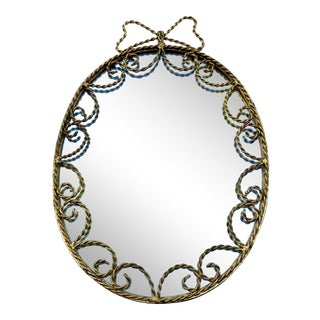 Italian Tole Gilt Oval Mirror For Sale