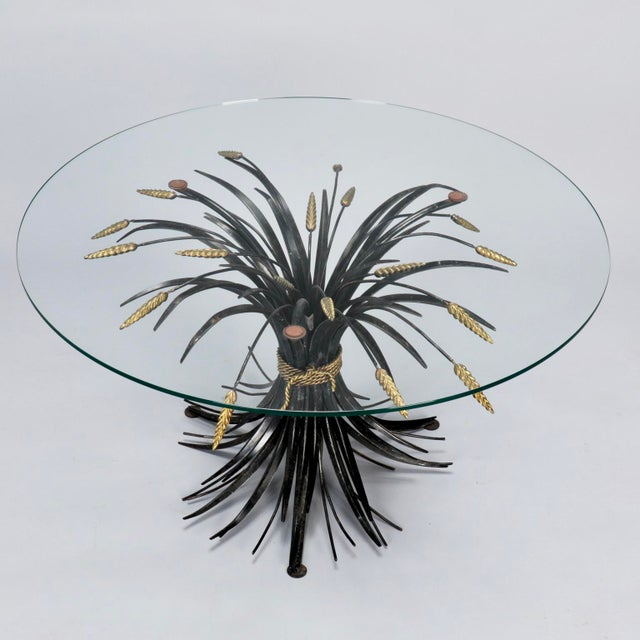 Italian Black and Gilt Wheat Sheaf Table With Glass Top For Sale - Image 4 of 8