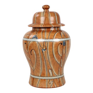 Vintage Temple Jar With Faux Wood Motif For Sale
