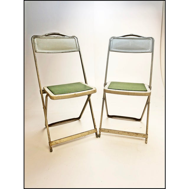 1950s Vintage White Metal Folding Chairs With Green Vinyl Seats - Set of 4 For Sale - Image 5 of 11